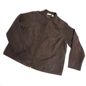 Style works faux suede blazer jacket 20W